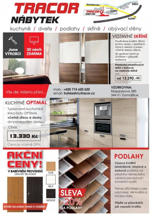 Akce na vestavěné skříně, kuchyně OPTIMAL, kvalitní podlahy nebo interiérové dveře