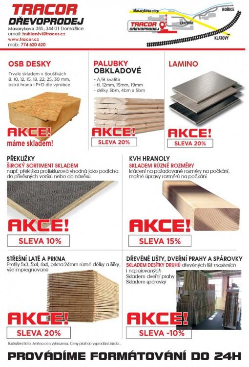 Slevy - dřevěný materiál za akční ceny